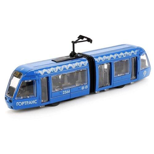 Купить Трамвай ТЕХНОПАРК SB-17-51-WB(IC) 19 см синий, Машинки и техника