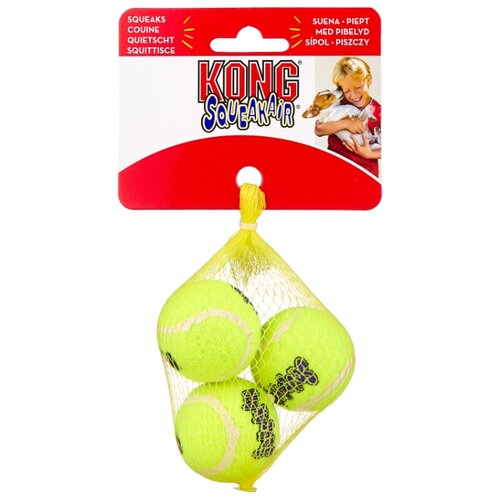 Мячик для собак KONG Air теннисный очень маленький, 3 шт (AST5E) желтый