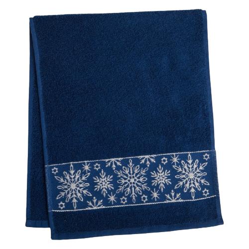 Этель полотенце Снежинки ажурные для рук 30х70 см синий