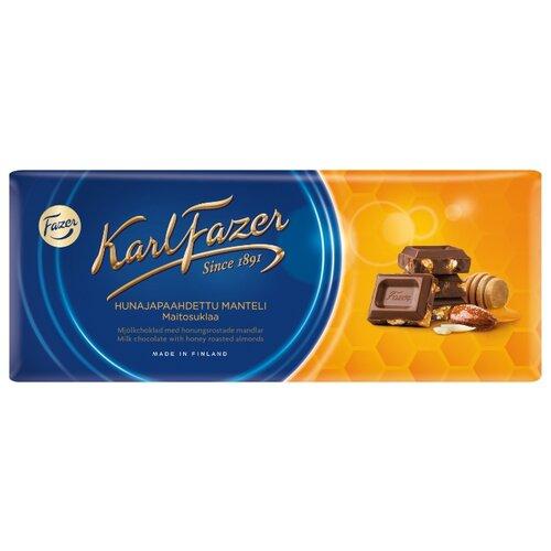 Шоколад Fazer молочный с жареным миндалем и медом 30% какао, 200 г karl fazer молочный шоколад с крошкой соленой карамели 200 г