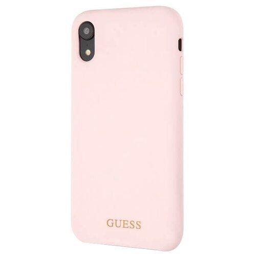Купить Чехол Guess Silicone Collection Gold для Apple iPhone Xr розовый