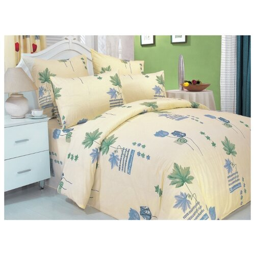 Постельное белье семейное СайлиД A-1, поплин бежевый/голубой постельное белье сайлид а97 1 двуспальное