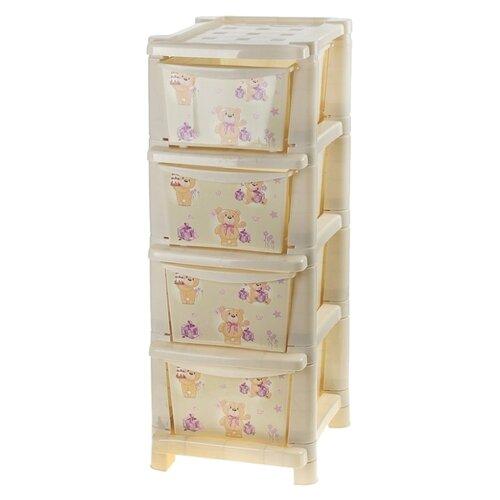 Купить Бельевой комод Little Angel Для игрушек 4 секции 335 bears, Детские комоды