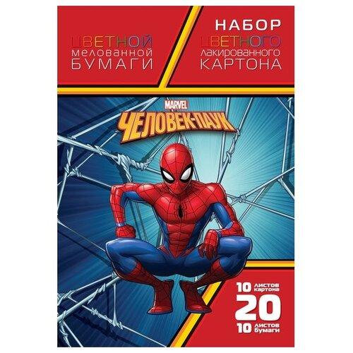 Фото - Набор цветного картона и цветной бумаги Человек-паук Hatber, A4, 20 л., 20 цв. набор цветного картона hatber creative a4 10 листов 126945
