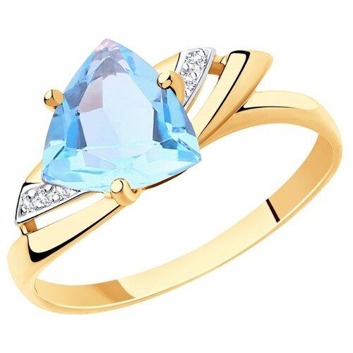 Diamant Кольцо из золота с топазом и фианитами 51-310-00292-1, размер 18 diamant кольцо из золота с топазом и фианитами 51 310 00292 1 размер 18