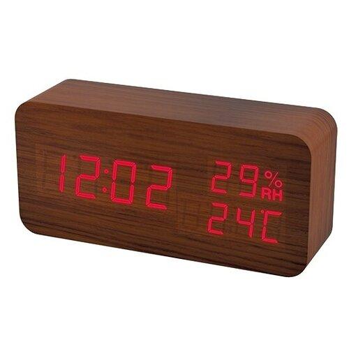 Метеостанция Perfeo Wood (PF-S736) коричневый / красный perfeo 533 2 автодержатель для смартфона до 6 5 на воздуховод магнитный с опорой черный красный pf a4348