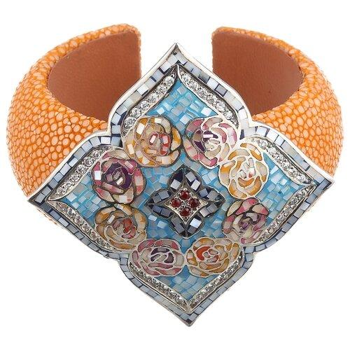 Фото - JV Браслет с россыпью цветных камней из серебра ZG7637-SH-ENAM-KJ-001-WG, 18 см, 54.3 г jv серьги с россыпью цветных камней из серебра or 3660buamtm1 am cr tu 001 wg
