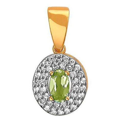 Фото - Эстет Подвеска с фианитами и хризолитом из красного золота 01П3110950-4 подвеска с 4 фианитами из красного золота