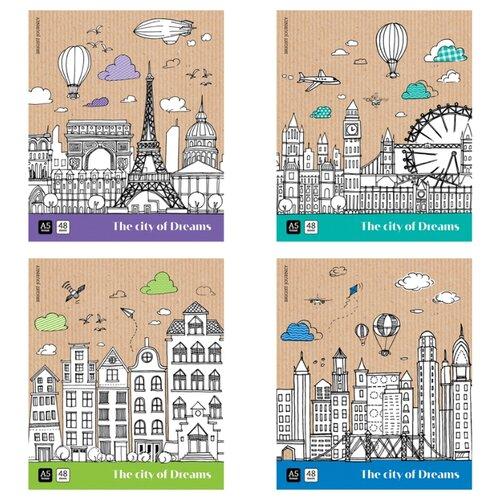 Купить ArtSpace Упаковка тетрадей Путешествия. City of dreams Т48кТЛ_29814, 10 шт./4 дизайна, клетка, 48 л., Тетради