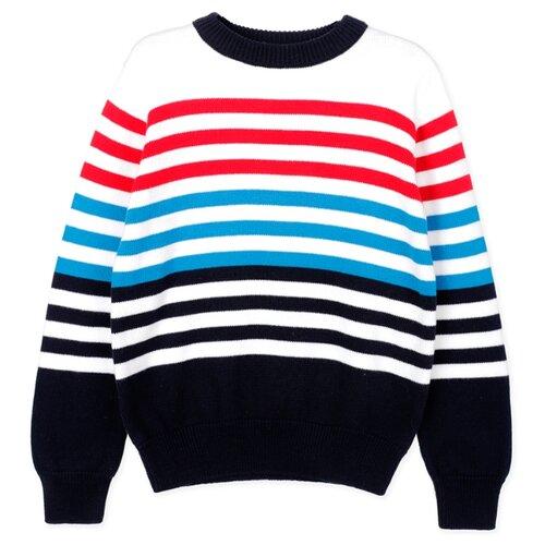 Купить Джемпер playToday размер 134, белый/синий, Свитеры и кардиганы