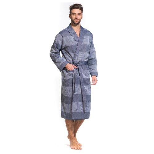 Легкий мужской халат из органического хлопка Pur Organique (PM France 417) размер 2XL (52-54), синий комбинированный