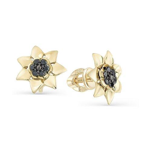 Мастер Бриллиант Золотые серьги с черным бриллиантом 2-102-035-48
