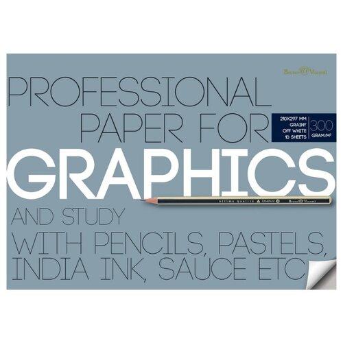 Бумага для графики А4, 10л, блок 300гр, в папке 4-122