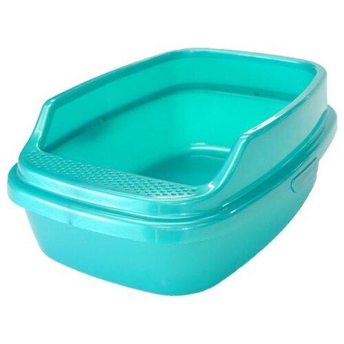 Туалет-лоток для кошек Homecat De Luxe 53х39х23 см бирюзовый перламутр