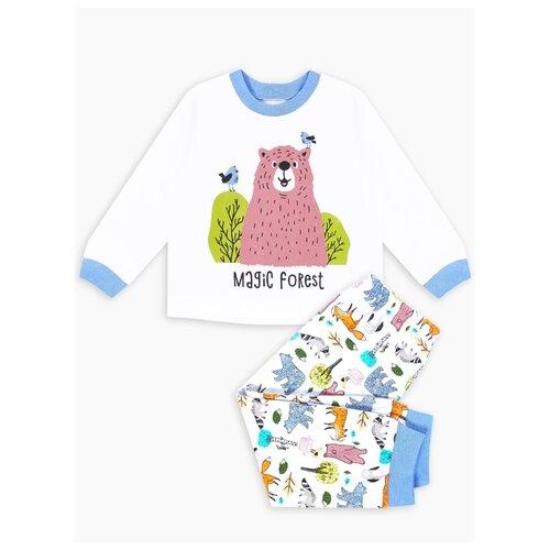 Купить Пижама Веселый Малыш размер 134, белый/синий, Домашняя одежда
