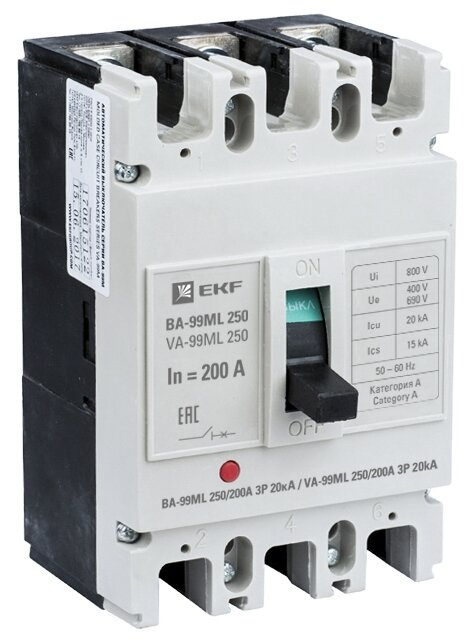 Автоматический выключатель EKF ВА-99М 250 3P (термомагнитный) 20kA