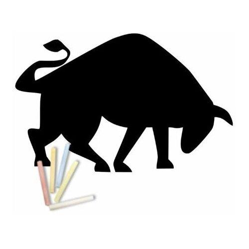Магнитная меловая доска Doski4you Бык № 1 для рисования на холодильник + мел / детская грифельная черная