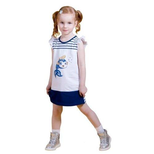 Платье M-Bimbo размер 104, белый/темно-синий m bimbo костюм зимний 350 220гр сирень