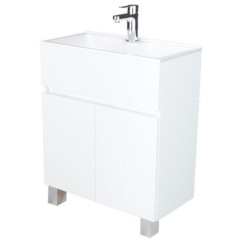 Фото - Тумба для ванной комнаты с раковиной 1Marka Mira Н, ШхГхВ: 60х30х85 см, цвет: белый глянец тумба белый глянец 74 6 см 1marka этюд у57583