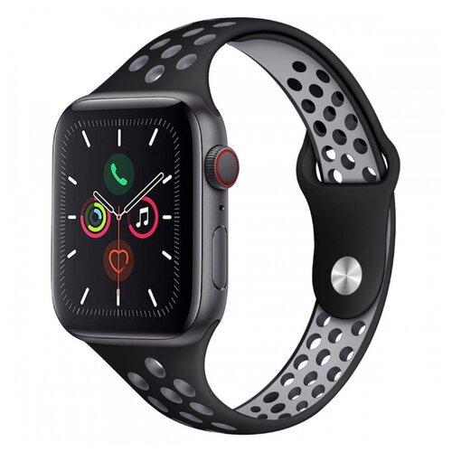 Сменный ремешок Nuobi Sport Slim для Apple Watch, Черный/серый 38/40 mm сменный ремешок nuobi для apple watch 38 40mm черный