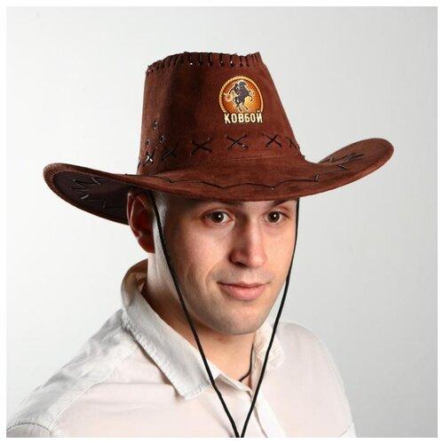 Купить Ковбойская шляпа Страна Карнавалия Ковбой , р-р, 56-58, цвет коричневый (2223768), Карнавальные костюмы