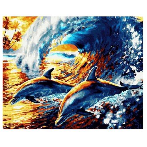 ВанГогВоМне Картина по номерам Веселые дельфины, 40х50 см (ZX 21995) картина по номерам вангогвомне рыцарский замок