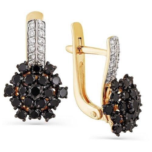 Мастер Бриллиант Золотые серьги с черным бриллиантом, бриллиантом 2-107-735-55