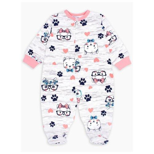 Комбинезон Веселый Малыш размер 80, серый меланж/розовый/синий брюки веселый малыш морской котик 33170 one размер 80 молочный серый синий