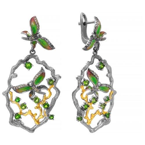 JV Серебряные серьги с перидотом, хромдиопсидом, эмалью YE01259-SR-HD-PD-ENAM-BJ
