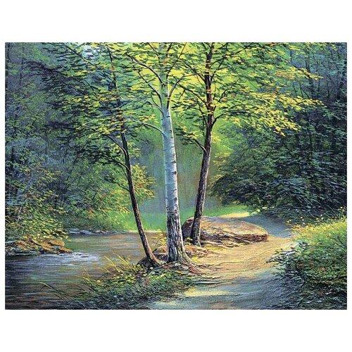 Алмазная вышивка Цветной Река в лесу, 50x40