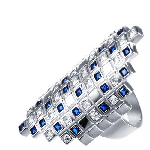 Фото - JV Кольцо из серебра с фианитами SY-356147-R-KO-001-WG, размер 18 jv кольцо с ониксами и фианитами из серебра pr150002b ox 001 wg размер 17