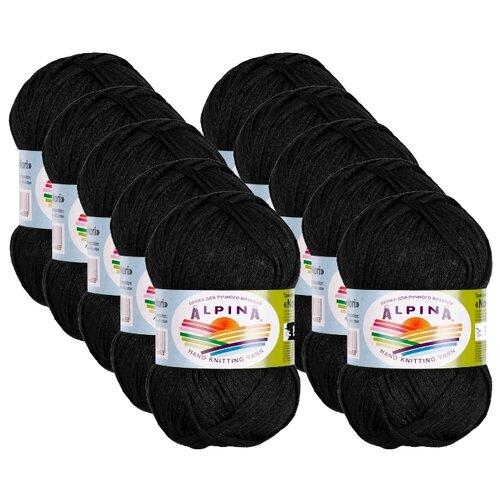 Пряжа Alpina Nori, 44 % хлопок, 56 % акрил, 50 г, 100 м, 10 шт., №01 черный