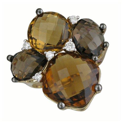 Фото - Эстет Кольцо с кварцами, раухтопазами и бриллиантами из жёлтого золота 01К6312562-6, размер 17.5 кольцо с раухтопазами перидотами и бриллиантами из жёлтого золота