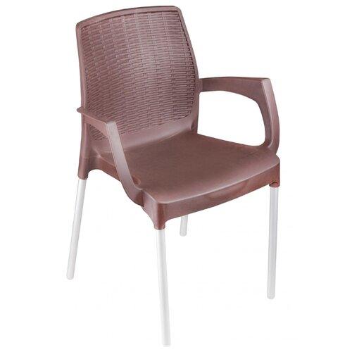 КРЕСЛО ПЛАСТ. ПРОВАНС (КОРИЧНЕВ.) АЛЬТЕРНАТИВА М6365 товары для дачи и сада альтернатива башпласт кресло прованс