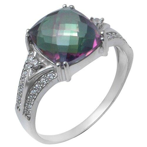 Balex Кольцо 1410931642 из серебра 925 пробы с мистик кварцем природным и фианитом, размер 17