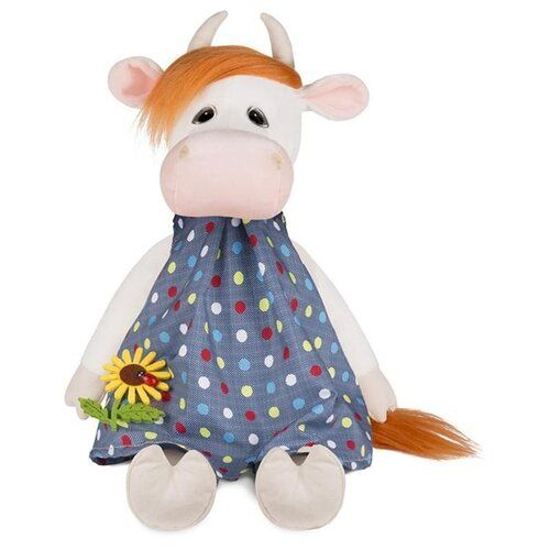 maxitoys мягкая игрушка maxitoys luxury slim лисичка с цветочком 33 см Мягкая игрушка Maxitoys коровка Глаша в платье с цветочком 28 см