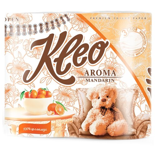 Туалетная бумага Kleo Aroma Мандарин трёхслойная оранжевая 4 рул.