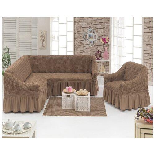 Чехлы на угловой диван и кресло, цвет: капучино