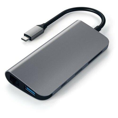 USB адаптер Satechi Aluminum Type-C Multimedia Adapter. Цвет серый космос (ST-TCMM8PAM)