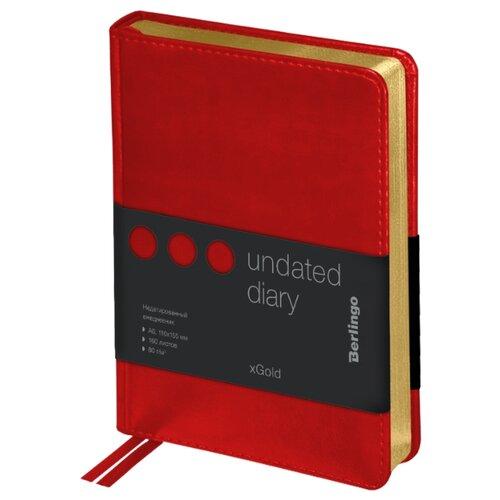 Купить Ежедневник Berlingo xGold недатированный, искусственная кожа, А6, 160 листов, красный, Ежедневники, записные книжки