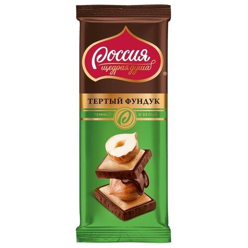 шоколад россия щедрая душа белый дуэт в карамельном 85 г Шоколад Россия - Щедрая душа! темный и белый с фундуком, 85 г