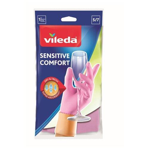 Перчатки Vileda Sensitive ComfortPlus для деликатных работ, 1 пара, размер S, цвет розовый перчатки vileda style 1 пара размер l цвет розовый