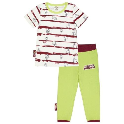 Фото - Пижама lucky child размер 28 (98-104), зеленый/белый пижама lucky child размер 28 92 98 полосатый