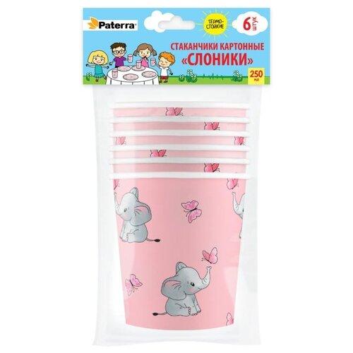 Бумажные стаканы СЛОНИКИ, 250 мл, 6шт. в упаковке, PATERRA тарелки бумажные paterra слоники 18 см