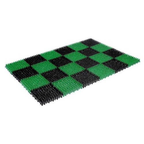 Придверный коврик VORTEX Травка (2300), размер: 0.56х0.42 м, черно-зеленый коврик придверный vortex palermo цвет красный зеленый 50 х 80 см 22454