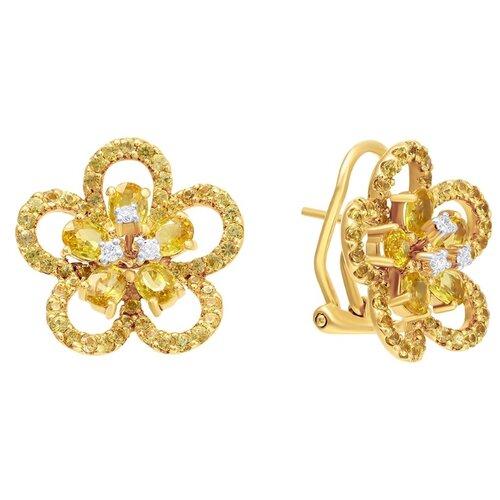 JV Золотые серьги с сапфиром, бриллиантами 01725E-SR-YS-YG