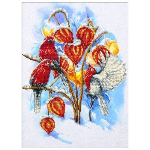 Паутинка Набор для вышивания бисером Физалис в снегу 28 х 38 см (Б1475)