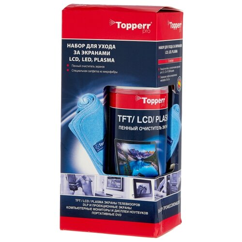 Фото - Набор Topperr 3024 чистящий спрей+многоразовая салфетка для экрана, для ноутбука аккумулятор для ноутбука ibatt apple a1395 ib a405