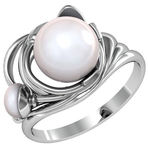 Приволжский Ювелир Кольцо с 2 жемчугом из серебра 233241-ZM07, размер 19.5 фото