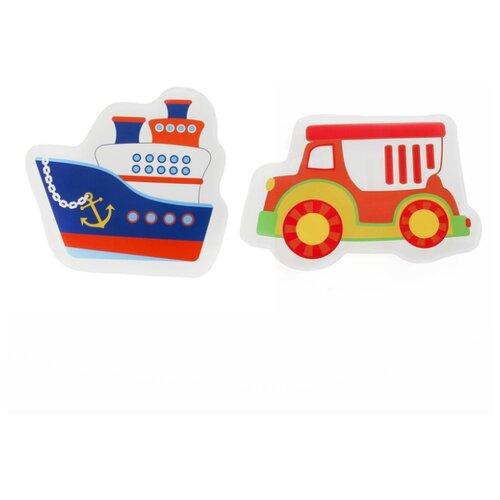 Купить Набор для ванной Крошка Я Кораблик и машинка (3045310) синий/красный, Игрушки для ванной
